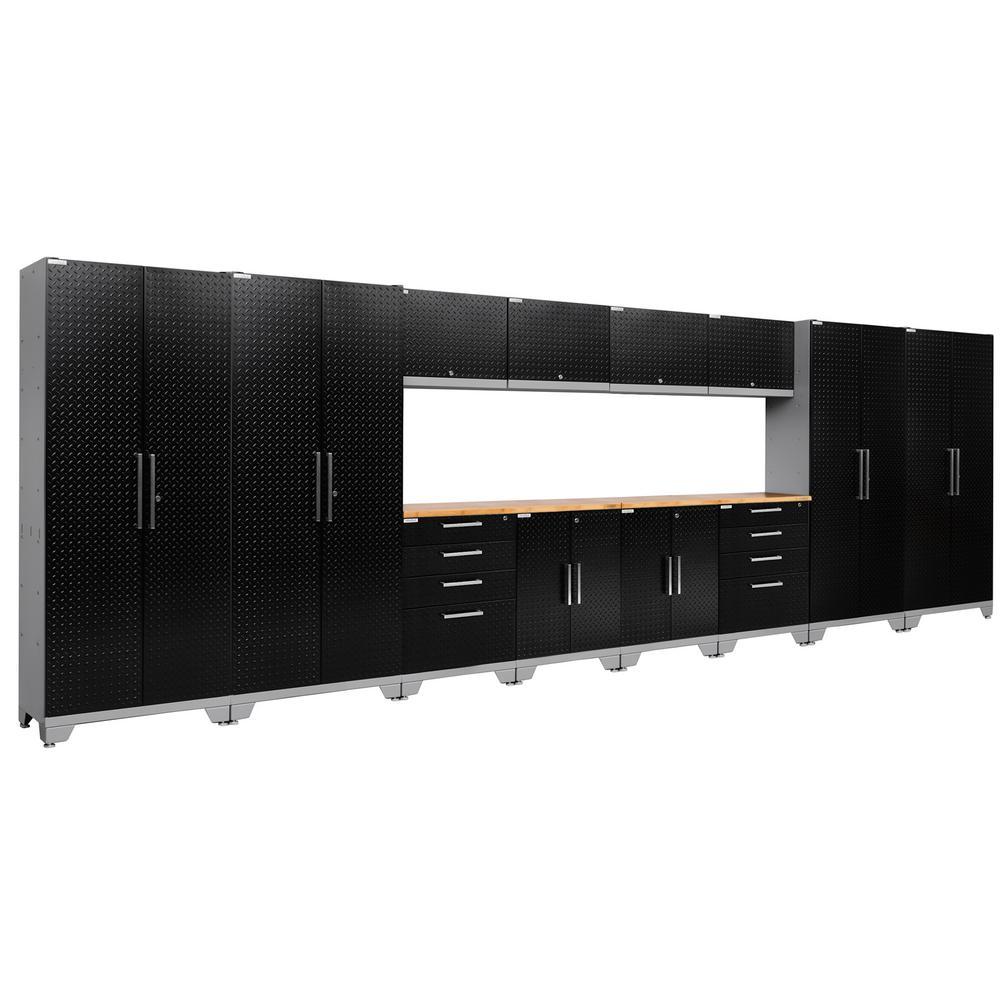 Performance Diamond Plate 2.0 72 in. H x 216 in. W x 18 in. D Garage Cabinet Set in Black (14-Piece)