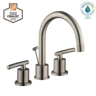 Dorset 8 in. Widespread 2-Handle High-Arc Bathroom Faucet in Brushed Nickel