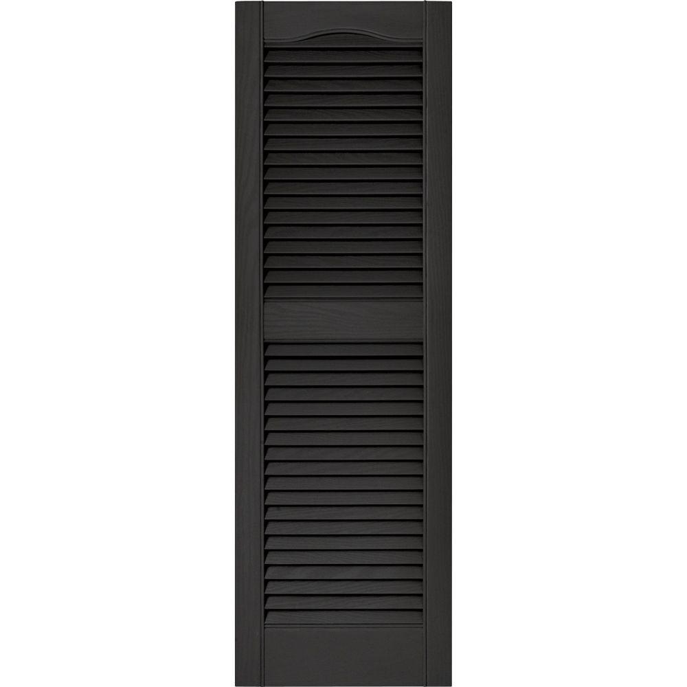 Builders edge 15 in x 48 in louvered vinyl exterior shutters pair in 002 black 010140048002 for Exterior louvered window shutters