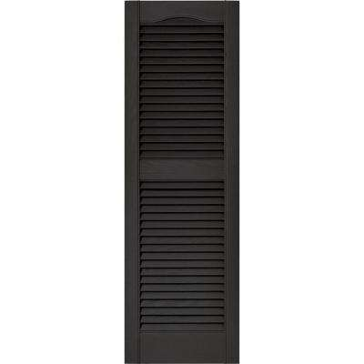 15 in. x 48 in. Louvered Vinyl Exterior Shutters Pair in #002 Black