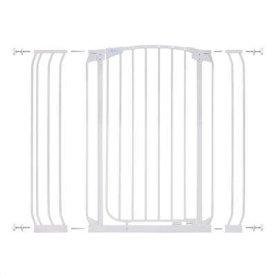 Chelsea 40 in. H Extra Tall Auto-Close Security Gate in White with Extensions