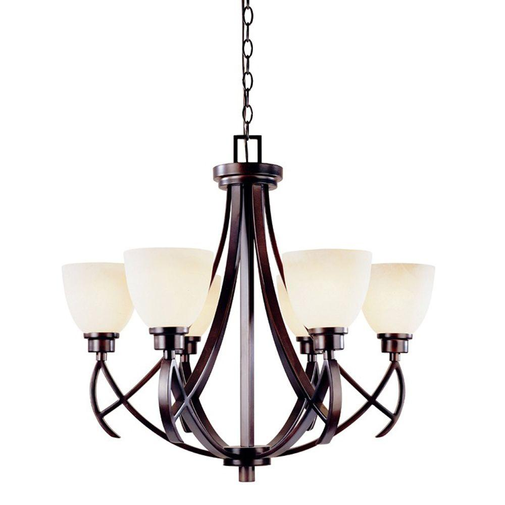 World Imports Beyond Modern Collection 6-Light Bronze Chandelier-DISCONTINUED