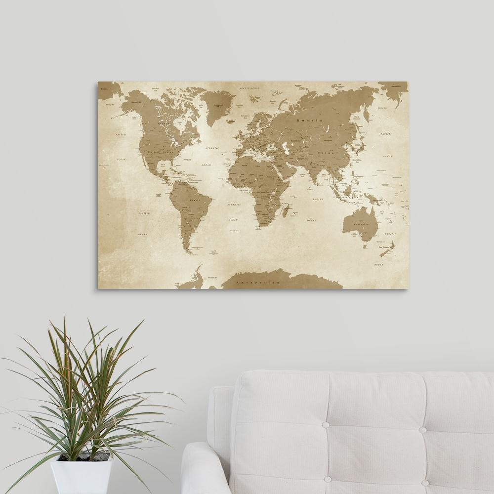 Greatbigcanvas 30 In X 20 In Antique Style World Map By Inner