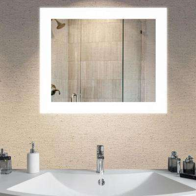 Led light bathroom mirrors bath the home depot led wall mounted backlit vanity bathroom led mirror aloadofball Choice Image