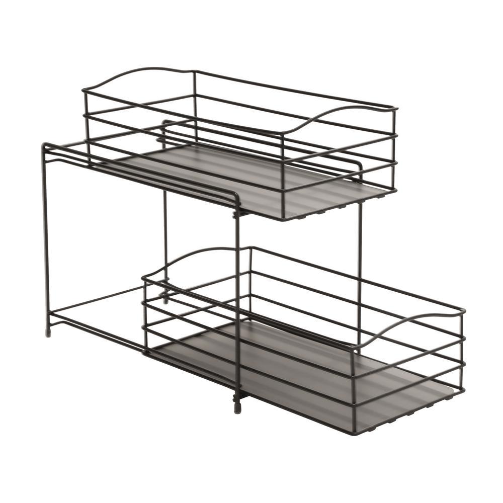 Bronze 2-Tier Sliding Basket Drawer Kitchen Counter and Cabinet Organizer