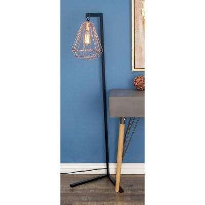 55 in. Modern Iron Diamond Prism Floor Lamp in Rose Gold