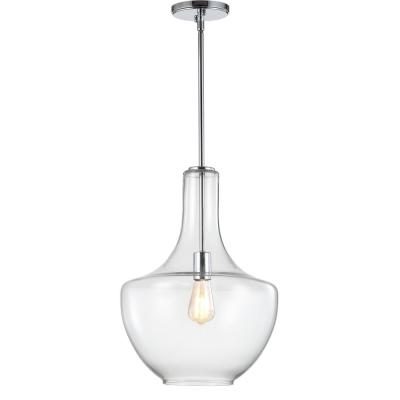 Watts 13.25 in. 1-Light Chrome/Clear Glass/Metal LED Pendant