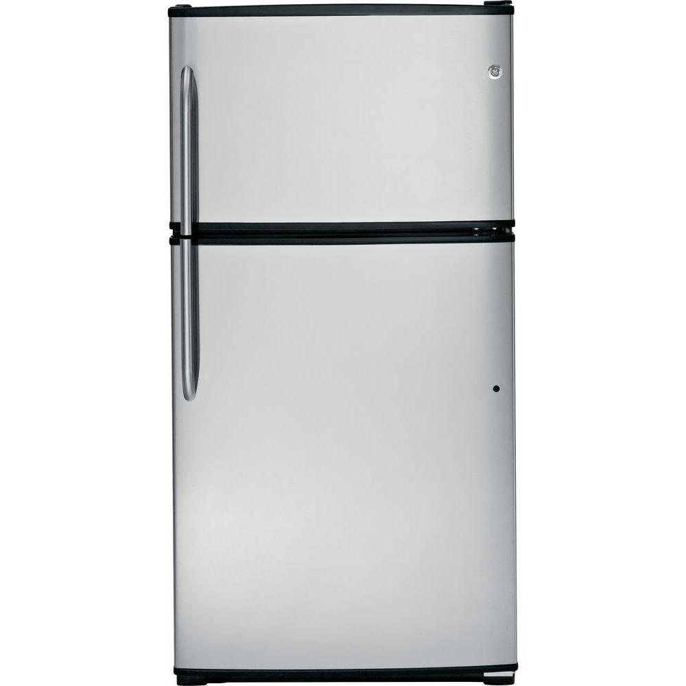 GE 32.75 in. W 21.0 cu. ft. Top Freezer Refrigerator in Stainless Steel