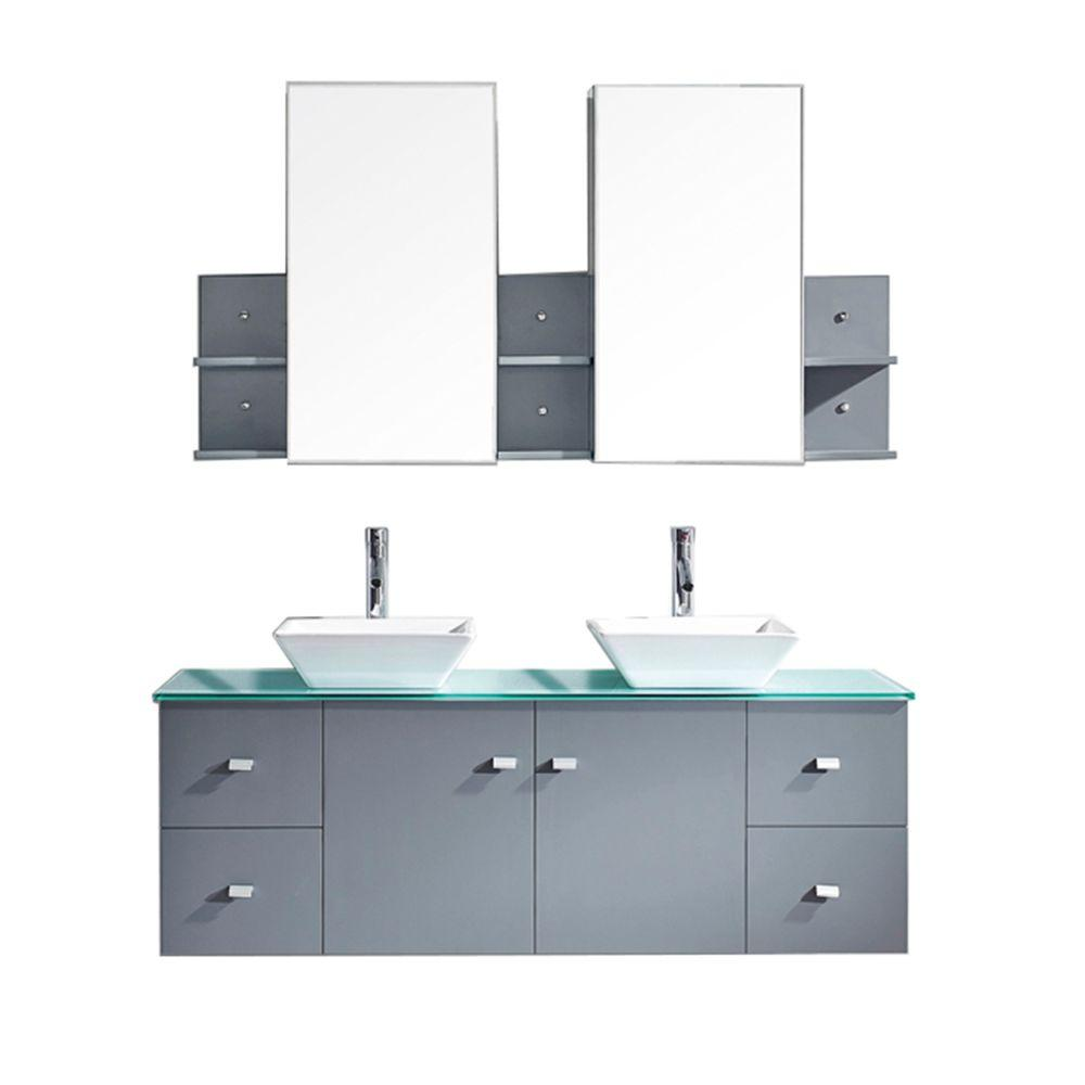 Virtu USA Clarissa 60 in. W Bath Vanity in Gray with Glass Vanity Top in Aqua with Square Basin and Mirror and Faucet