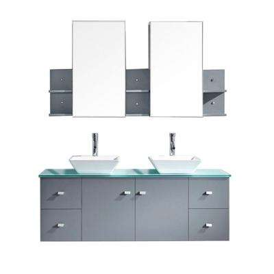 Clarissa 60 in. W Bath Vanity in Gray with Glass Vanity Top in Aqua with Square Basin and Mirror and Faucet