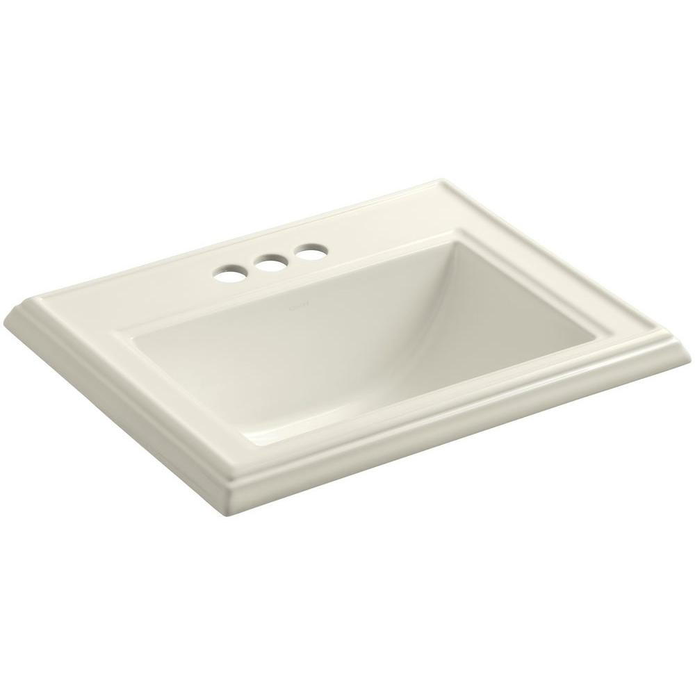 Memoirs Drop In Vitreous China Bathroom Sink In Biscuit With Overflow Drain