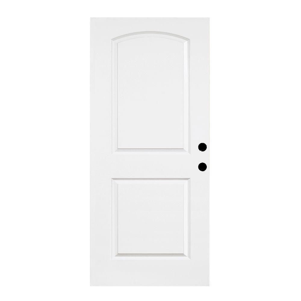 Steves & Sons Premium 2-Panel Round Top Primed White Steel Front Door Slab-DISCONTINUED