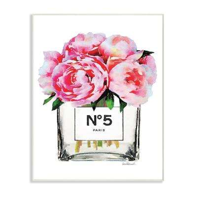 "10 in. x 15 in. ""Glam Paris Vase with Pink Peony"" by Amanda Greenwood Printed Wood Wall Art"