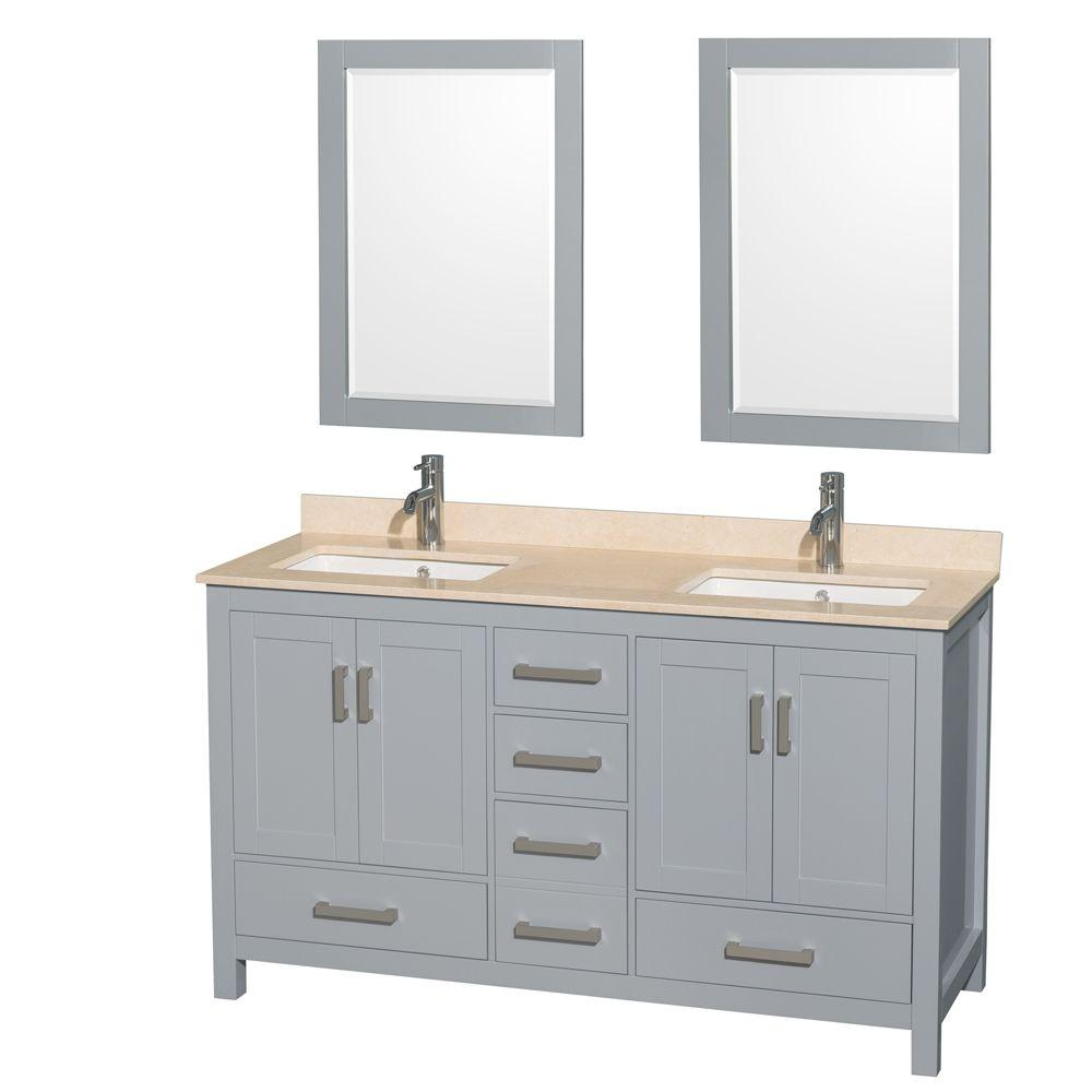 Wyndham Collection Sheffield 60 in. W x 22 in. D Vanity in Gray with ...