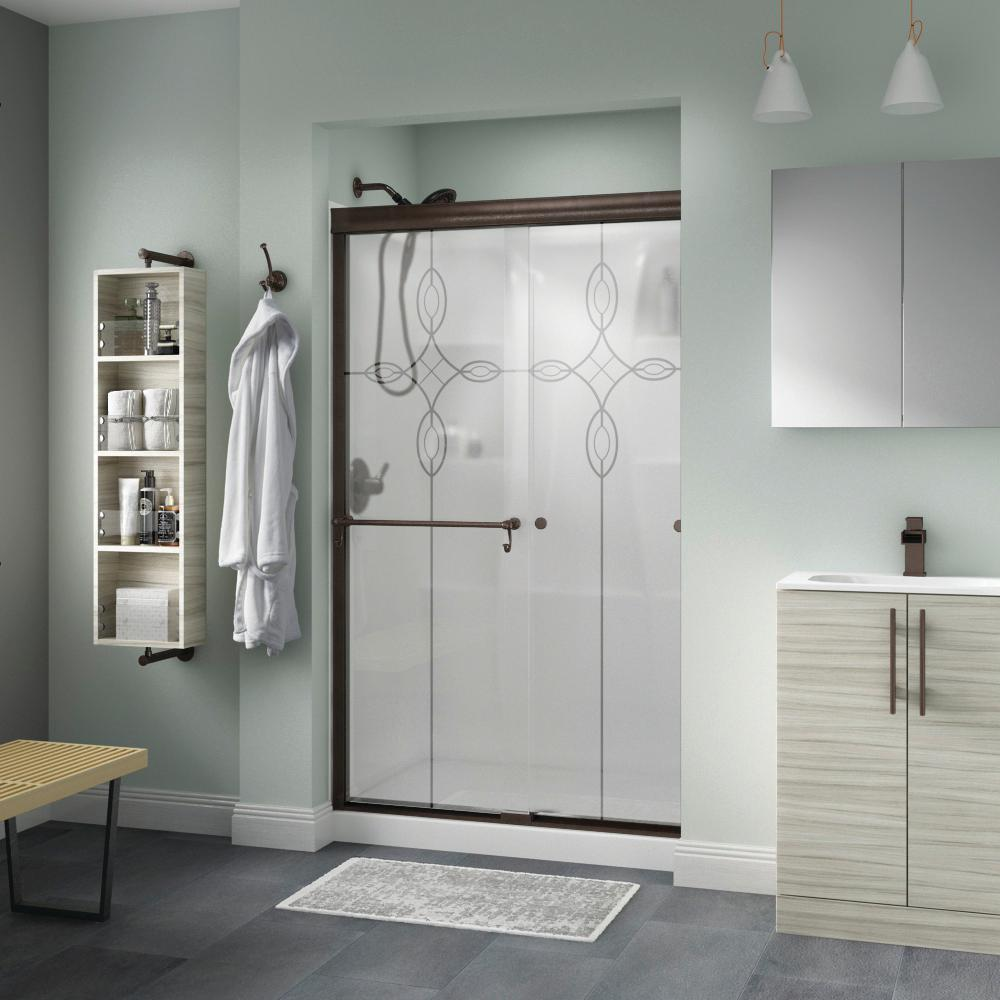 Delta Portman 48 in. x 70 in. Semi-Frameless Traditional Sliding Shower Door in Bronze with Tranquility Glass was $429.0 now $339.0 (21.0% off)