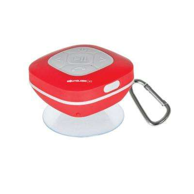 Bluetooth Shower Speaker with FM Radio and Carabiner in Red