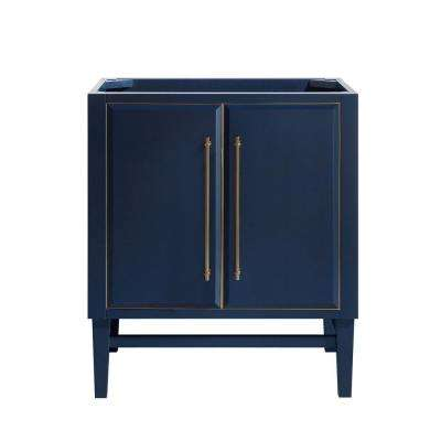 Mason 30 in. Bath Vanity Cabinet Only in Navy Blue with Gold Trim