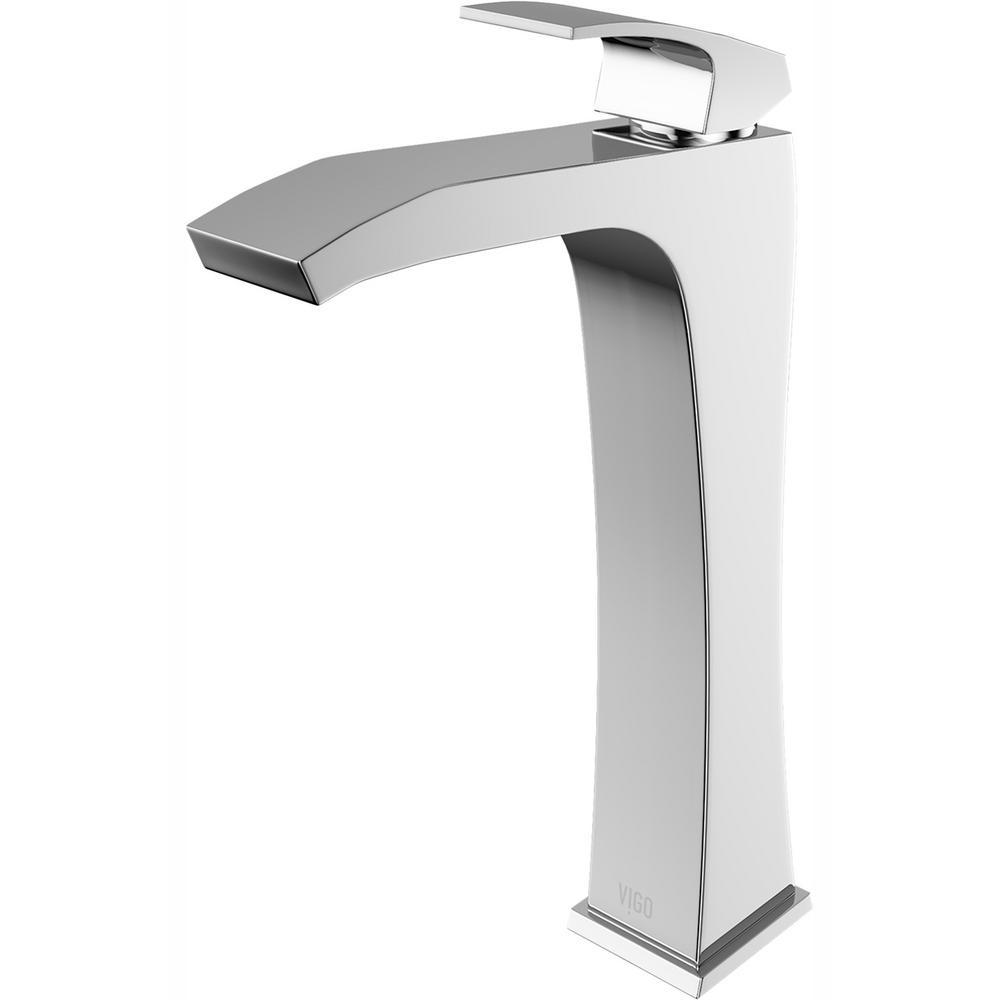 VIGO Blackstonian Single Hole Single-Handle Vessel Bathroom Faucet in Chrome