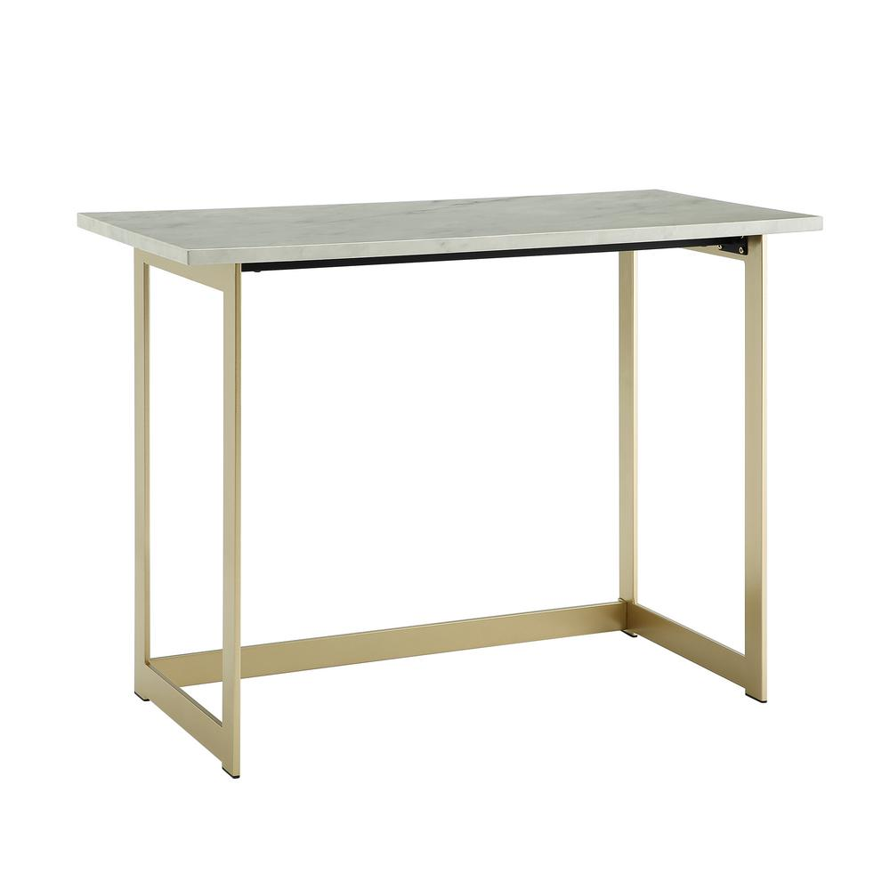 Walker Edison Furniture Company 42 In White Marble Gold Contemporary Modern Faux Work