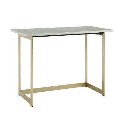 42 in. White Marble / Gold Contemporary Modern Faux Marble Work Writing Computer Desk