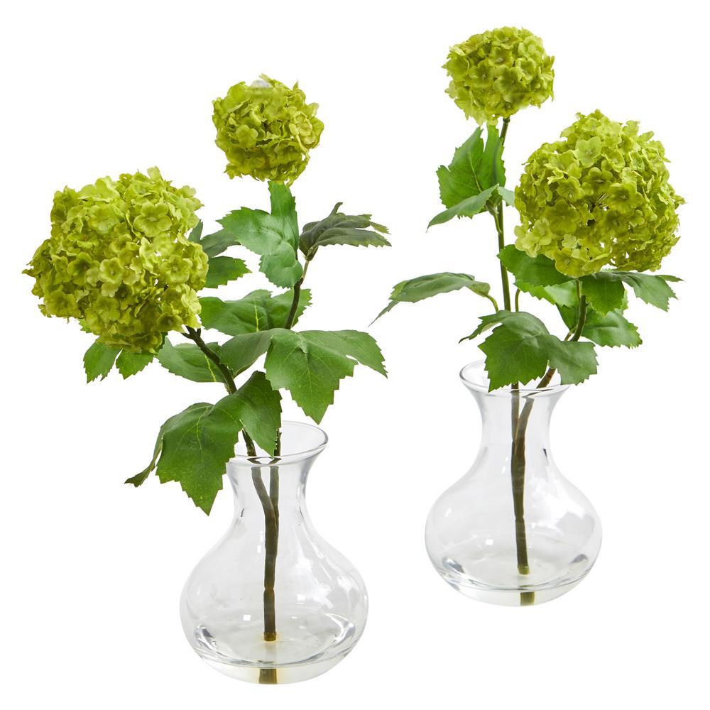 Indoor Snowball Hydrangea Artificial Arrangement in Vase (Set of 2)