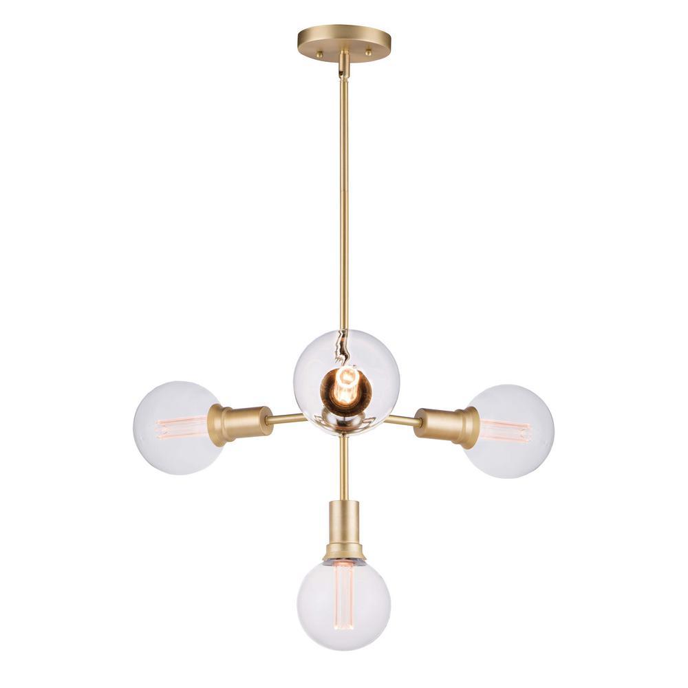 Molecule 4-Light Satin Brass Pendant