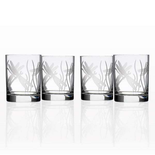 Rolf Glass Dragonfly 14 oz. Clear Double Old Fashioned Glass (Set