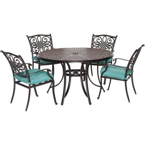 Hanover Traditions 5-Piece Aluminum Round Outdoor Dining Set with Protective Cover and... by Hanover