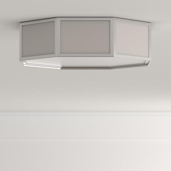 HomeSelects - 2-Light Nickel Modular Octagon Ceiling Flushmount with Glass Globe