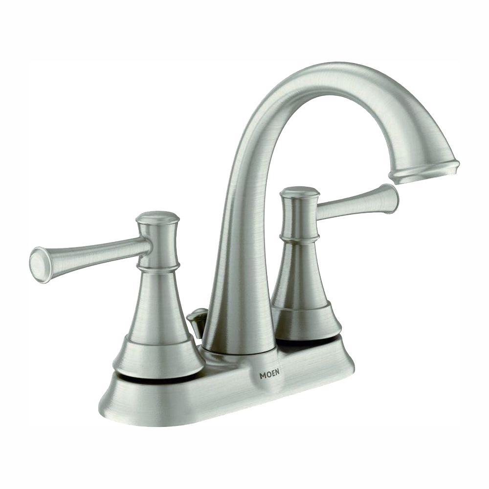 MOEN Ashville 4 in. Centerset 2-Handle Bathroom Faucet with Spot Resist  Brushed Nickel