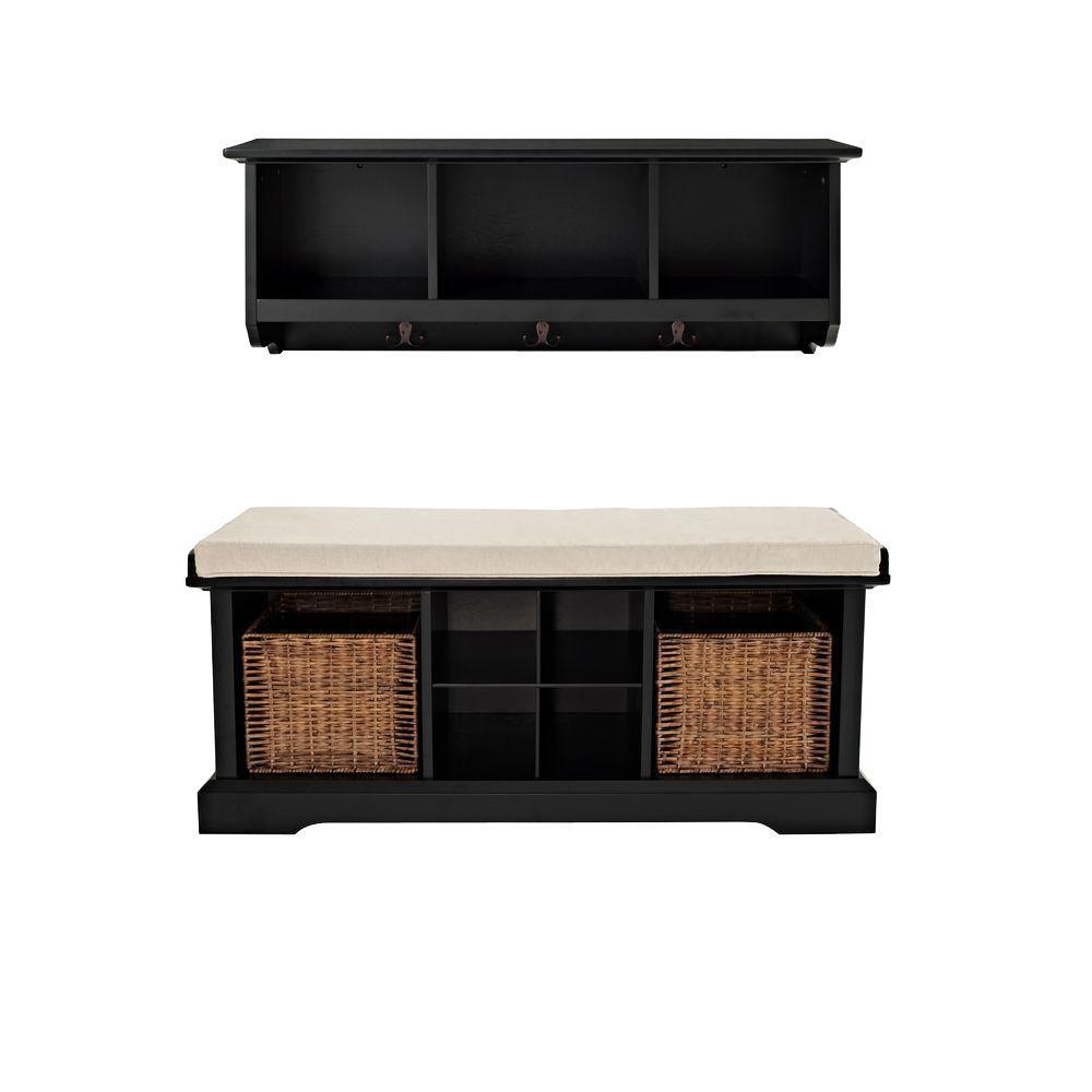 Crosley brennan entryway bench with shelf set in black