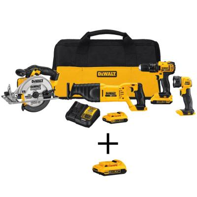 DEWALT 20-Volt MAX Lithium-Ion Cordless Combo Kit (4-Tool) with (2) Batteries 2Ah, Charger, Tool Bag and Bonus Battery Pack...
