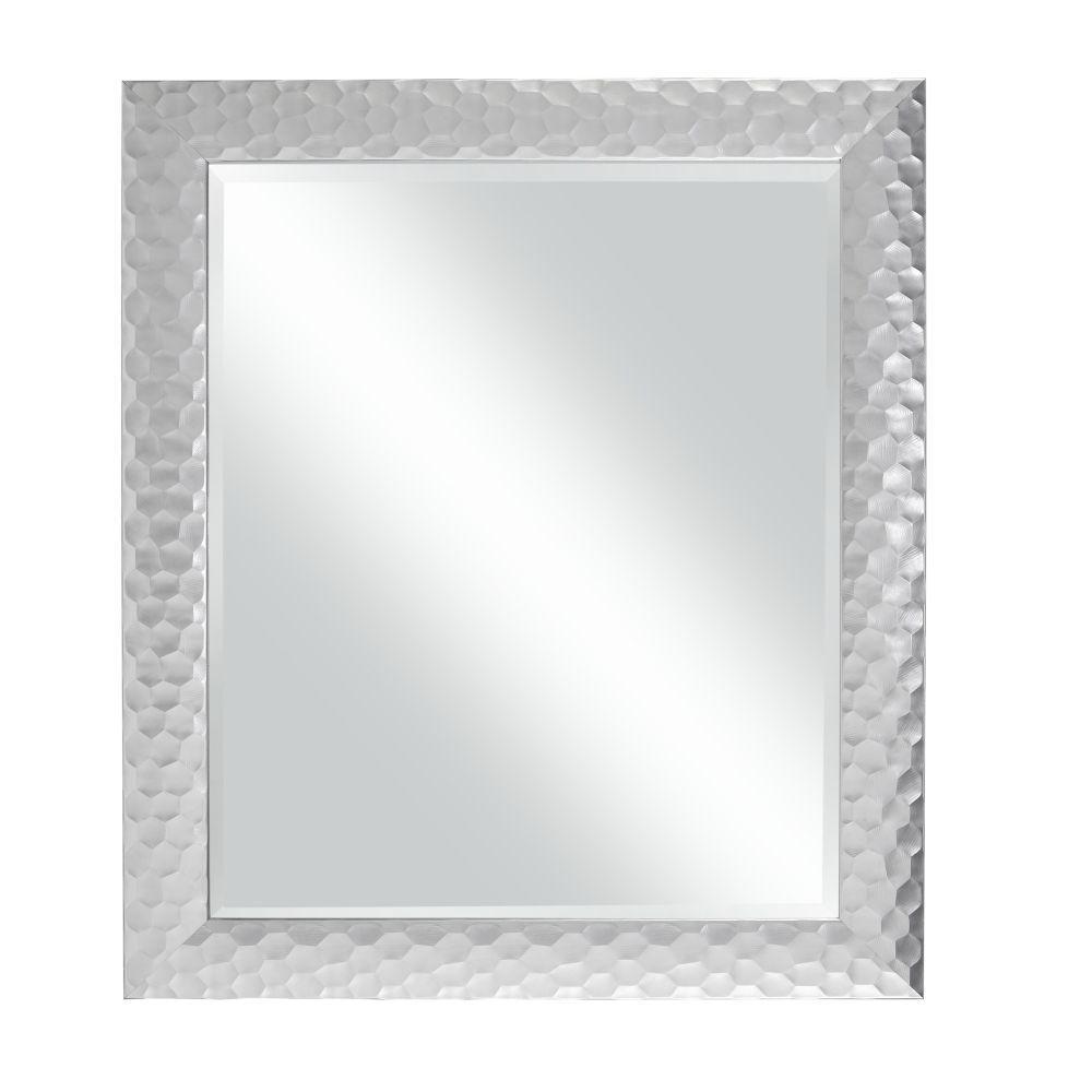 Small Rectangle Metallic Silver Modern Mirror (0.75 in. H x 33.5 in. W)