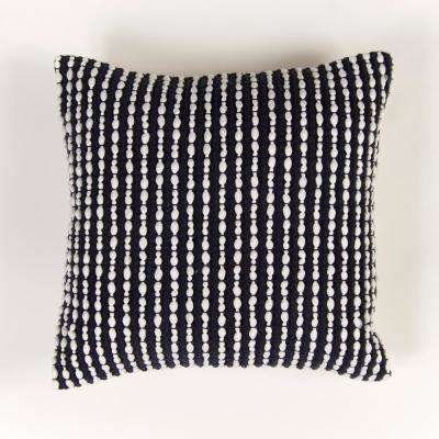 Handwoven Textured Pillow in Navy
