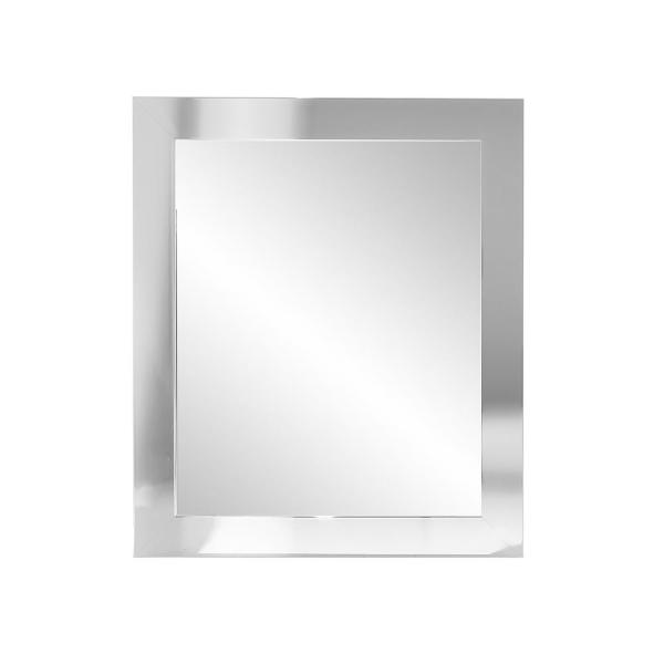 Large Rectangle Chrome Hooks Modern Mirror (50 in. H x 32 in. W)