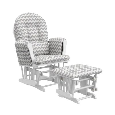 White With Gray Chevron Cushion Hoop Glider And Ottoman Set