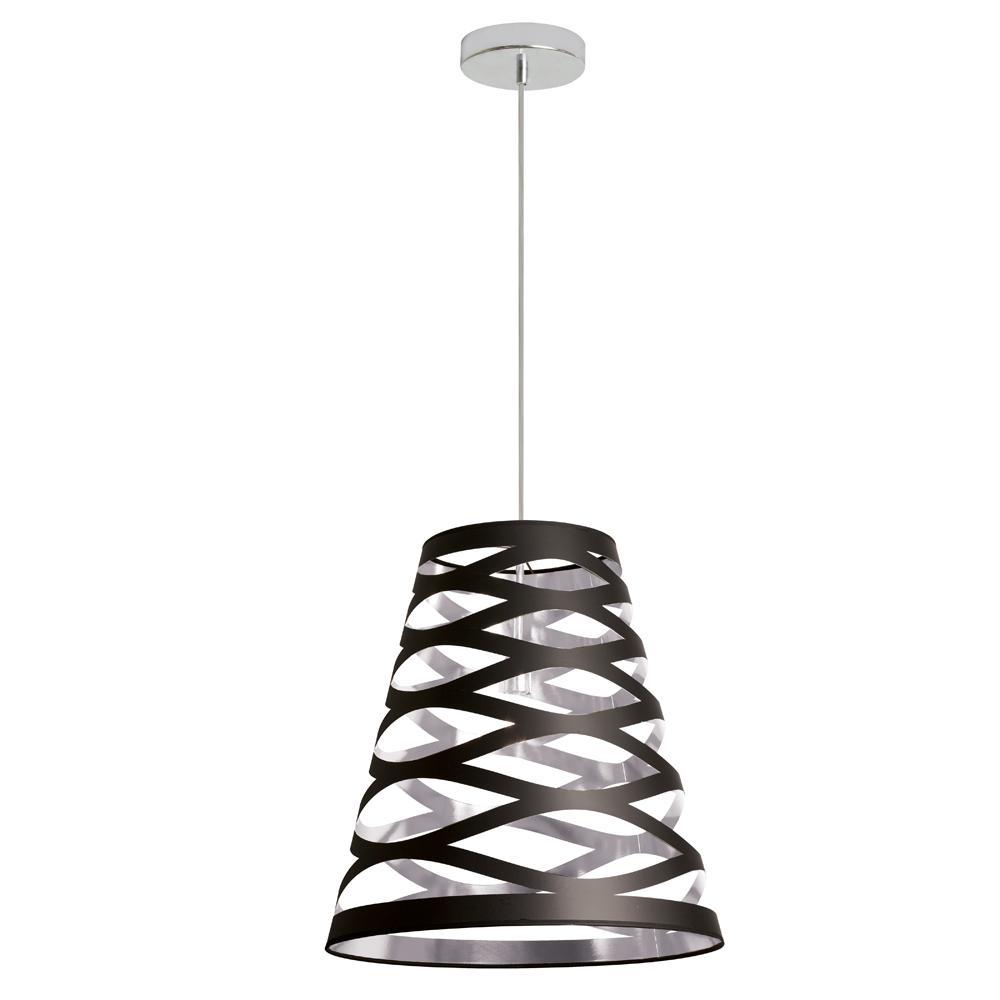 Filament Design 1 Light Black On Silver Pendant CLI