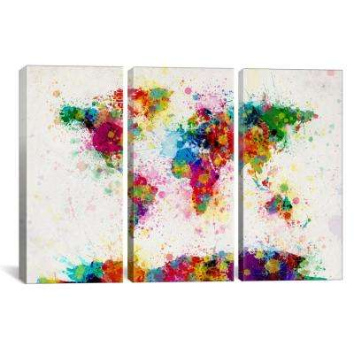 World Map Paint Drops III by Michael Tompsett Canvas Wall Art
