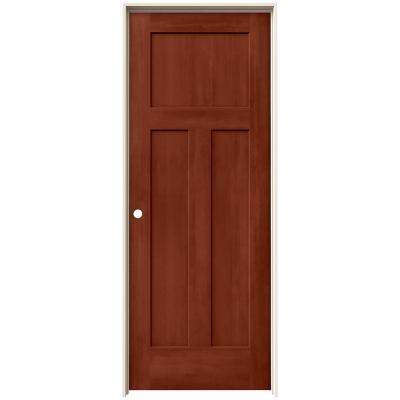 24 in. x 80 in. Craftsman Amaretto Stain Right-Hand Solid Core Molded Composite MDF Single Prehung Interior Door