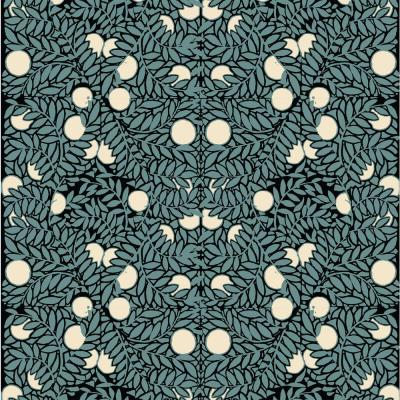 Debut Collection Orange Bush in Blue/Cream Removable and Repositionable Wallpaper
