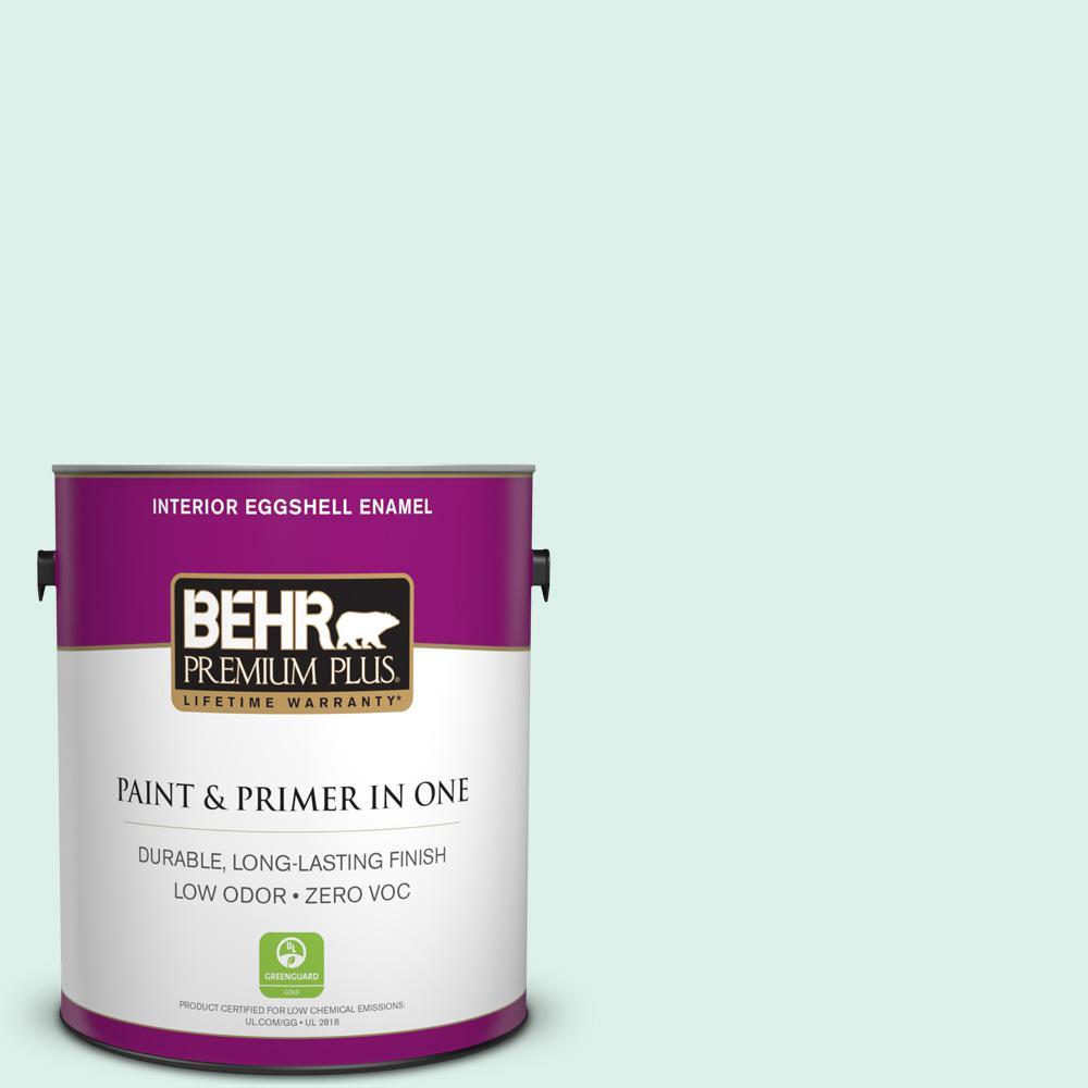 BEHR Premium Plus 1-gal. #490C-1 Ice Cube Zero VOC Eggshell Enamel Interior Paint