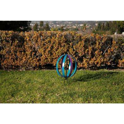 14 in. Tall Blue and Purple Dual Metal Round Hanging or Stake Sphere