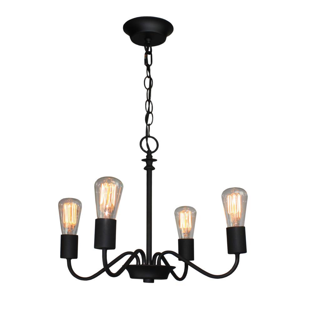 4-Light Black Chandelier