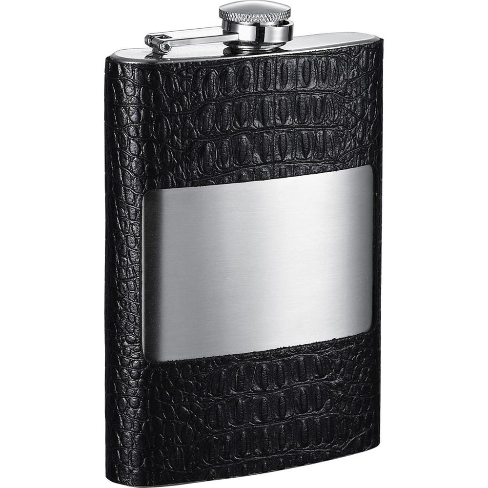 Mikhail Handcrafted Black Leather Liquor Flask