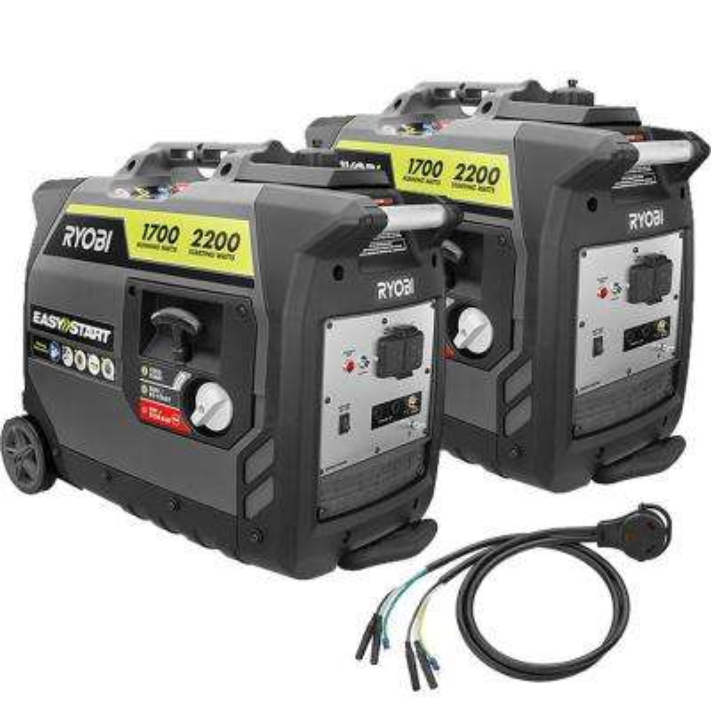 2,200-Watt Gray Gasoline Powered Digital Inverter Generator with Parallel Combo Kit