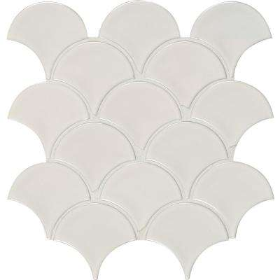 White Glossy Fish Scale 10.74 in. x 10.2 in. x 10 mm Porcelain Mesh-Mounted Mosaic Tile (12.94 sq. ft. / case)