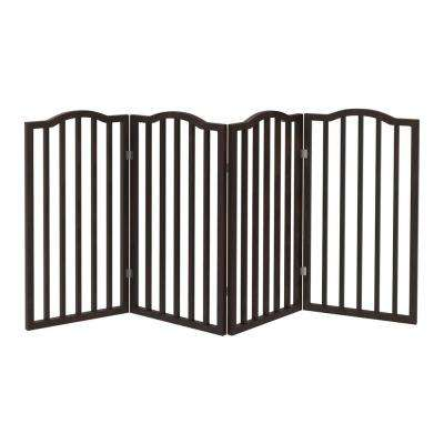 72 in. x 32 in. Wooden Freestanding Brown Pet Gate