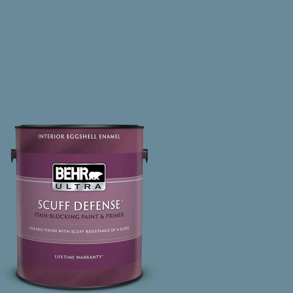 Behr Ultra 1 Gal Bic 22 Relaxed Blue Extra Durable Eggshell Enamel Interior Paint And Primer In One 275401 The Home Depot