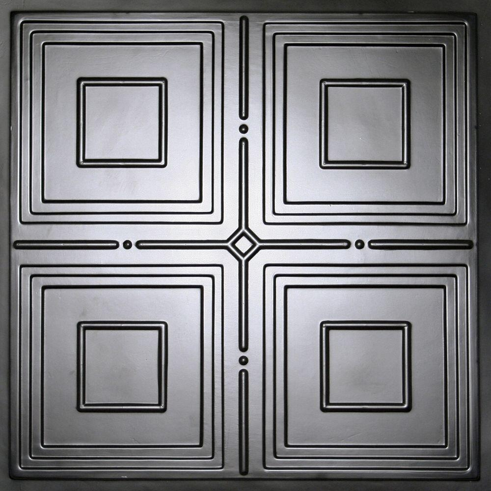 Ceilume Jackson Black 2 ft. x 2 ft. Lay-in or Glue-up Ceiling Panel (Case of 6)