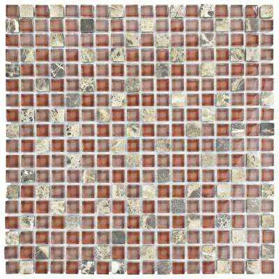 Tessera Mini Bordeaux 11-3/4 in. x 11-3/4 in. x 8 mm Glass and Stone Mosaic Tile